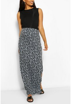 Sky blue Maternity Ditsy Floral Side Split Maxi Skirt