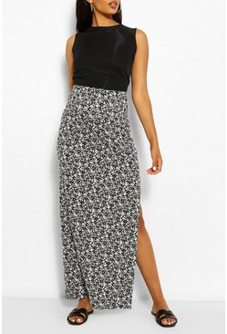 White Maternity Ditsy Floral Side Split Maxi Skirt