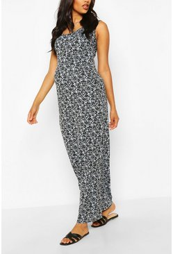Sky blue Maternity Ditsy Floral Scoop Neck Maxi Dress