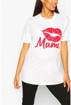 White Maternity Lip Print Mama Slogan T-Shirt