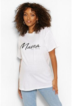 White Maternity Mama Est 2020 Scribble Slogan T-Shirt