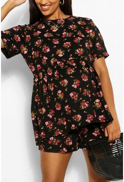 Black Maternity Ditsy Floral Flippy Short