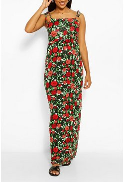 Red Maternity Floral Tie Shoulder Maxi Dress