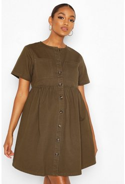 Khaki Maternity Button Front Denim Smock Dress