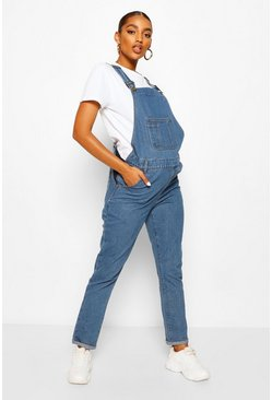 Mid blue blue Maternity Denim Dungaree