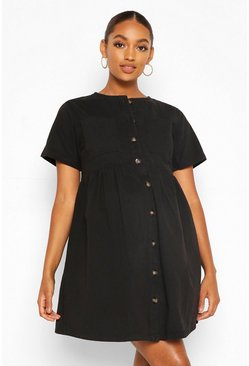 Black Maternity Button Front Denim Smock Dress