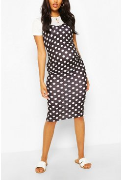 Black Maternity Polka Dot 2 In 1 Bodycon Dress