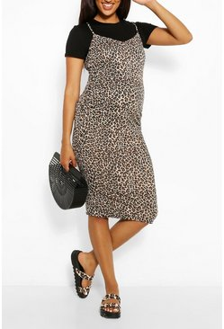 Black Maternity Leopard Print 2 In 1 Bodycon Dress