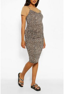 Camel beige Maternity Leopard Print 2 In 1 Bodycon Dress