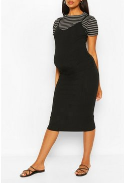 Black Maternity Stripe Tshirt 2 In 1 Bodycon Dress