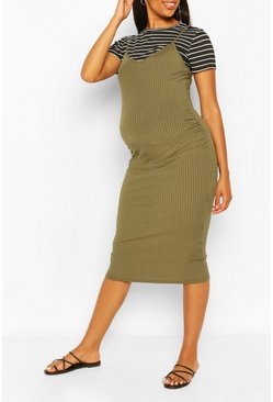 Khaki Maternity Stripe Tshirt 2 In 1 Bodycon Dress
