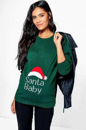 Bottle green green Maternity 'Santa Baby' Christmas Jumper
