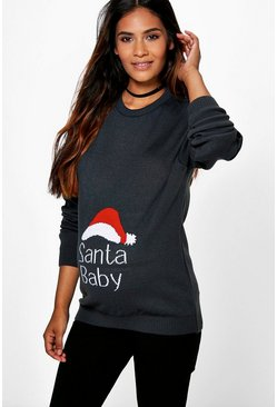 Grey Maternity 'Santa Baby' Christmas Jumper