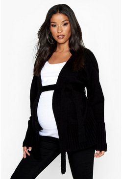 Black Maternity Belted Cardigan