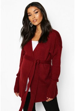 Wine red Maternity Belted Cardigan