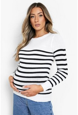 Multi Maternity Stripe Crew Neck Jumper
