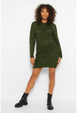 Khaki Maternity Twist Knit Marl Dress
