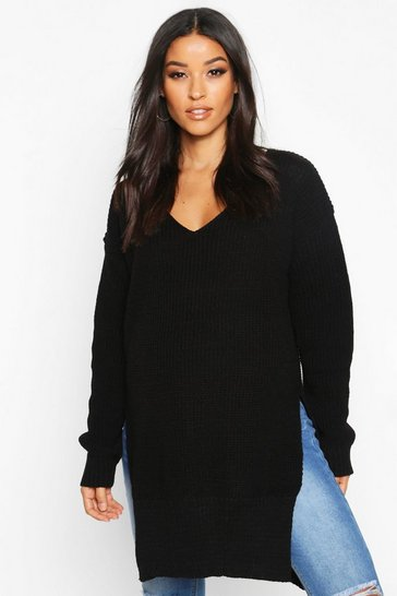 Black Maternity V-Neck Side Split Jumper