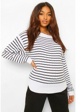 Multi Maternity Striped Soft Rib Jumper