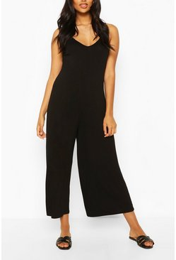 Black Maternity Slouchy Strappy Jumpsuit