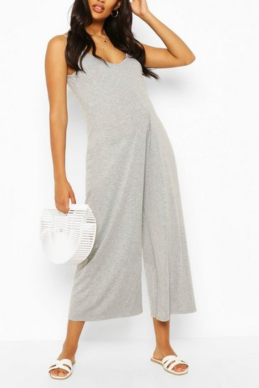 Grey marl Maternity Slouchy Strappy Jumpsuit