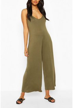 Khaki Maternity Slouchy Strappy Jumpsuit