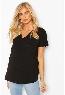 Black Maternity Pocket V-neck T-shirt