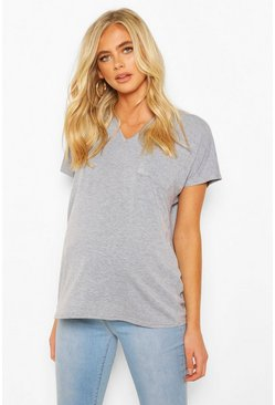 Grey Maternity Pocket V-neck T-shirt