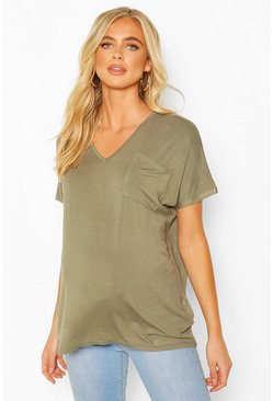 Khaki Maternity Pocket V-neck T-shirt