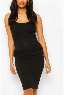 Black Maternity Scoop Neck Midi Dress