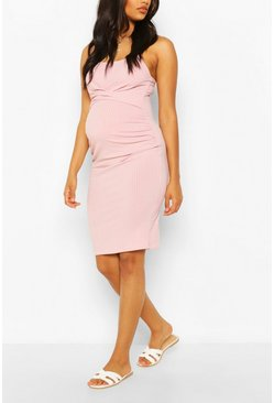 Rose pink Maternity Scoop Neck Midi Dress