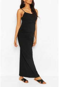 Black Maternity Scoop Neck Tie Front Maxi Dress