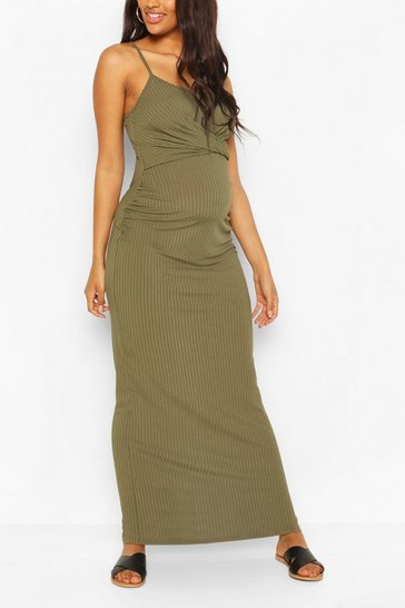 Khaki Maternity Scoop Neck Tie Front Maxi Dress
