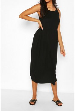 Black Maternity Strappy Midi Smock Dress