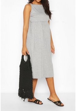 Grey marl grey Maternity Strappy Midi Smock Dress