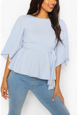 Pale blue blue Maternity Split Sleeve Peplum Top