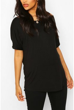 Black Maternity Off Shoulder T-shirt