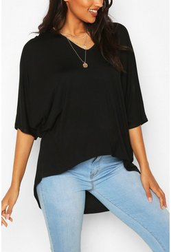 Black Maternity V-neck Hip Hem T-shirt