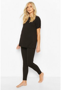 Black Maternity Tshirt And Legging Lounge Set