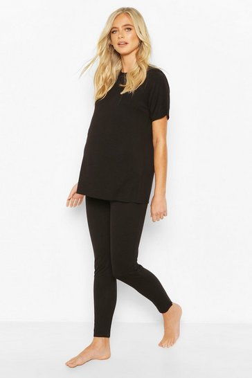 Black Maternity Tshirt And Legging Loungewear Set