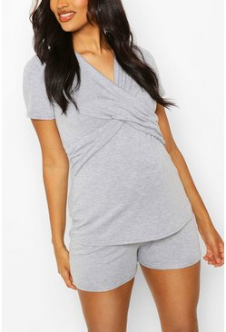 Grey marl Maternity Wrap Front Nursing PJ Short Set