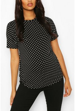 Black svart Maternity Polka Dot T-shirt