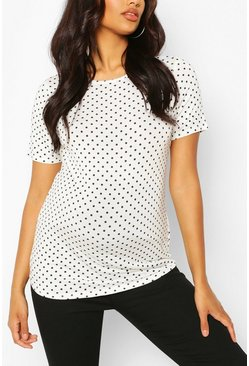 White Maternity Polka Dot T-shirt