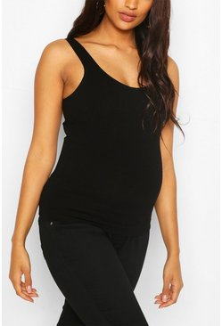 Black Maternity Seamless Singlet