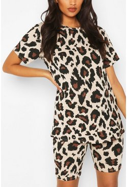 Tan brown Maternity Leopard T-shirt & Short Lounge Set