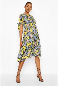 Black Maternity Floral Tie Sleeve Midi Shift Dress