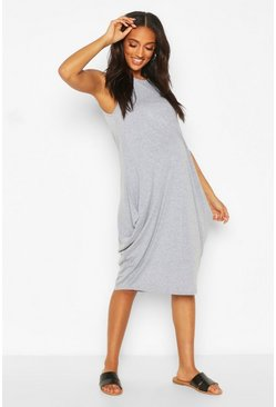 Grey marl grey Maternity Drape Midi Dress