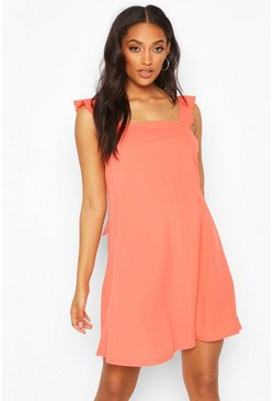 Coral pink Maternity Frill Tie Back Sundress