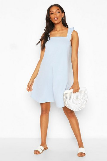Pale blue blue Maternity Frill Tie Back Sundress