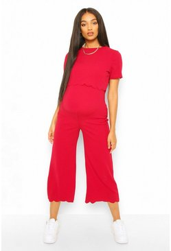 Berry red Maternity Scallop Nursing Culotte Jumpsuit
